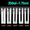 QM20, Semi Micro Cuvettes, 2 Clear Windows, Lightpath 10mm, Volume: 0.35/0.7/1.05/1.4/1.75mL, PTFE Lids, Quartz