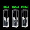 QM28, Sub Micro Volume Cuvettes for Fluorescence, 4 Clear Windows, 50/100/200uL, Quartz for 190-2500nm